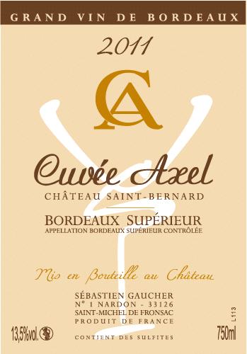 Etiquette cuvée axel Bordeaux supérieure